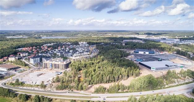 Området med den nya handelsplatsen som växer fram