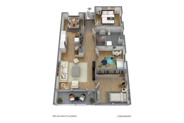 Planlösning med möbleringsförslag