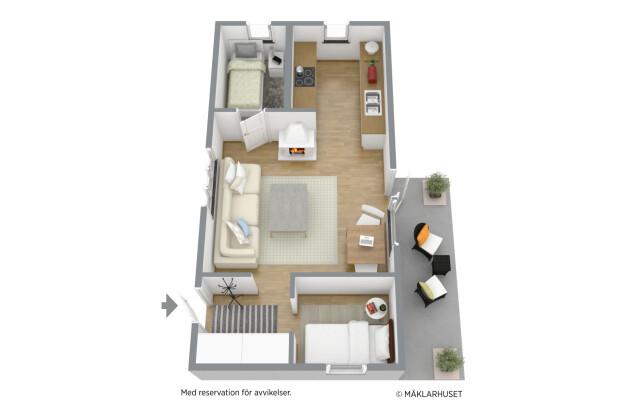 Planritning möblerad