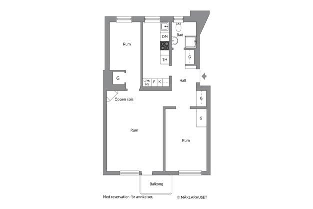 Lägenheten disponerades ifrån start som en 3a. Möjlighet att återställa görs med enkelhet.