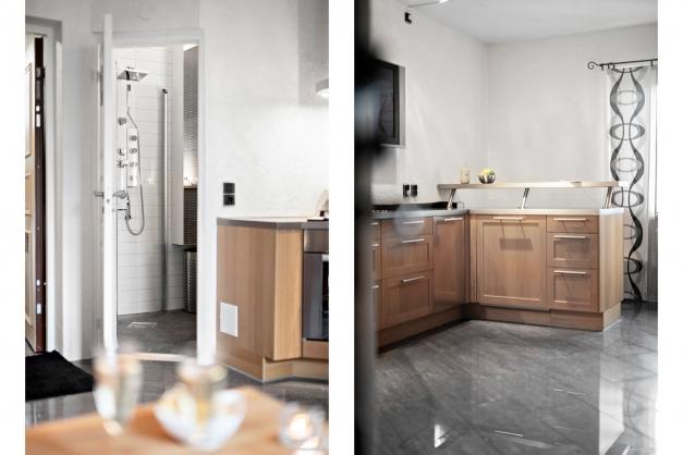 Köket och ingången till badrummet.