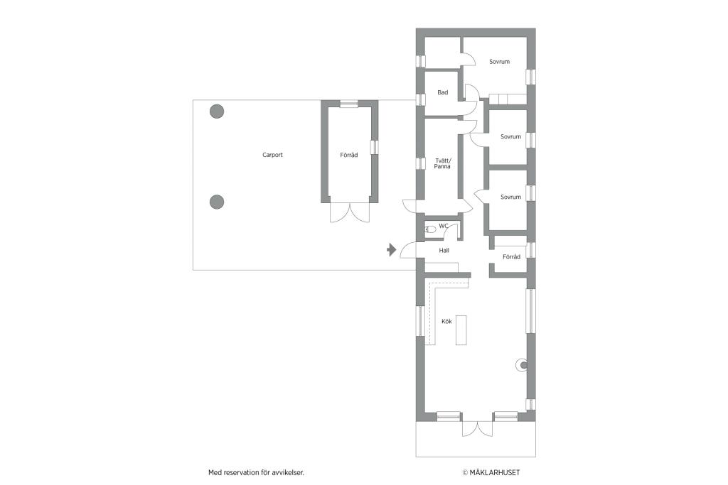 Planritning 2D,  1-planshus
