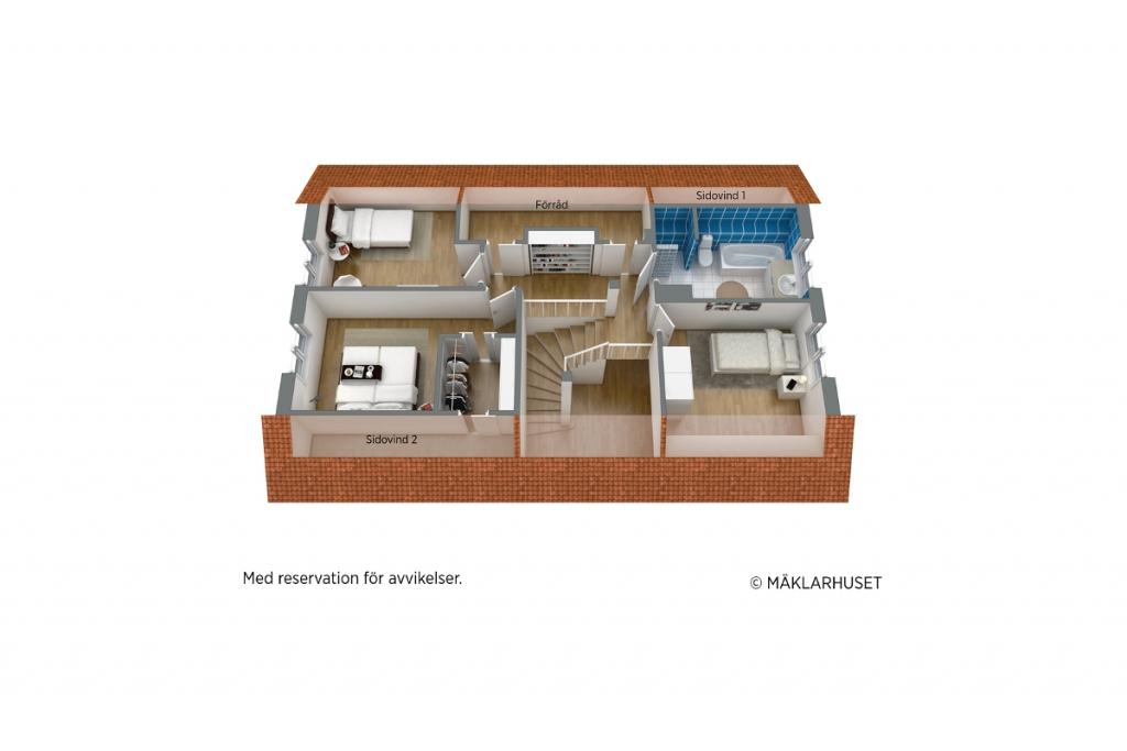 PLANLÖSNING - Övervåning 3D