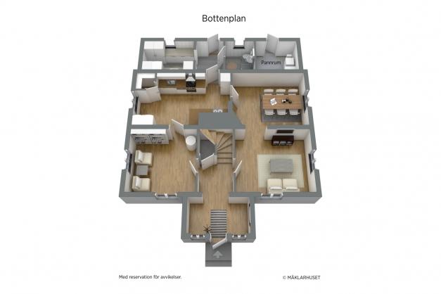 Planlösning bottenvåning 3D