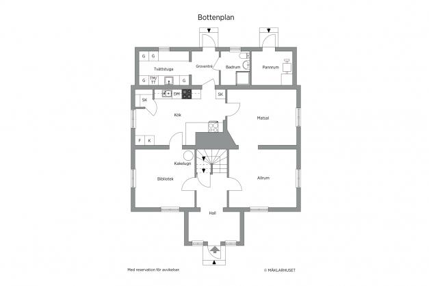 Planlösning bottenvåning 2D