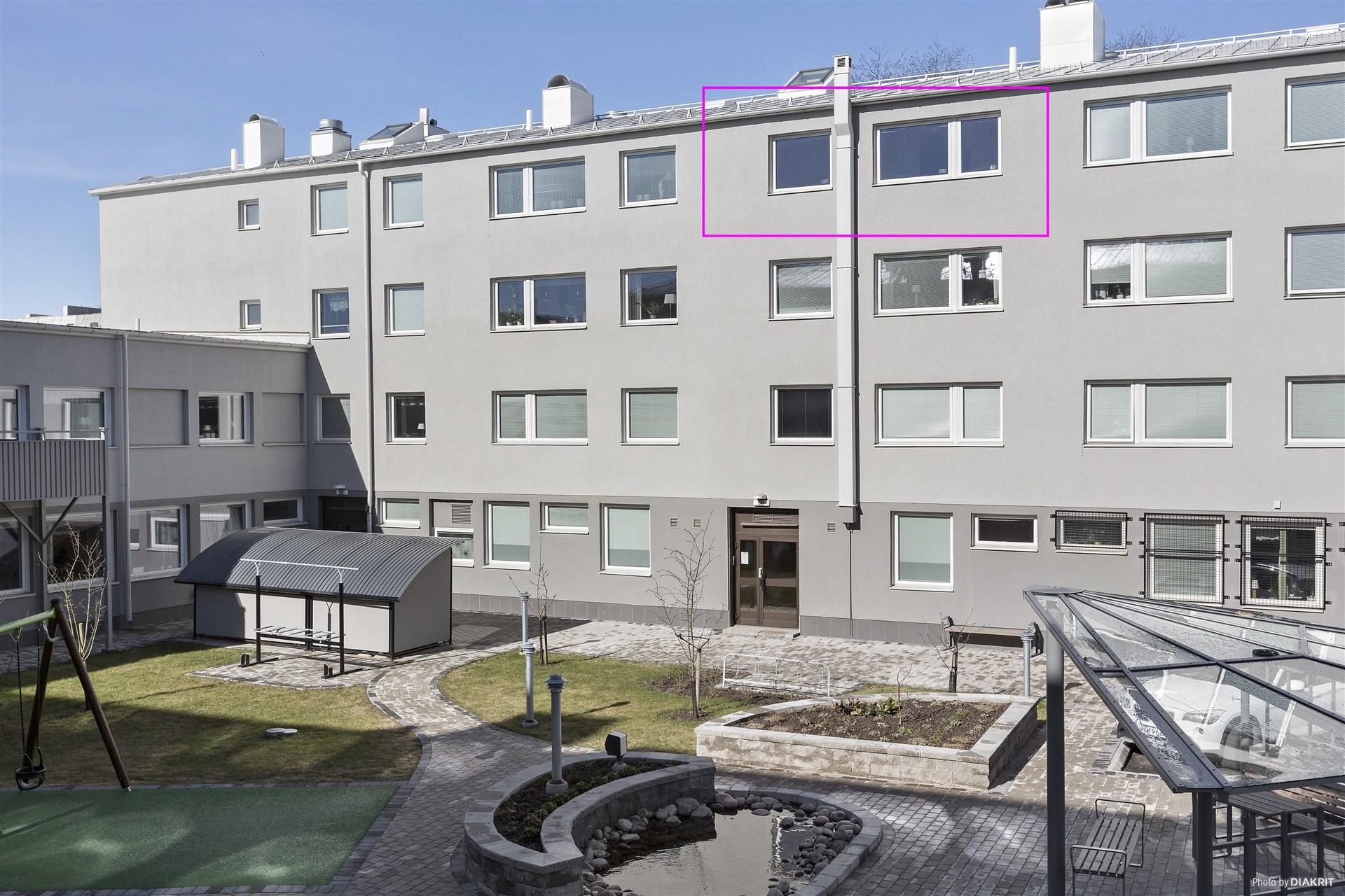 Innergården med lägenheten markerad