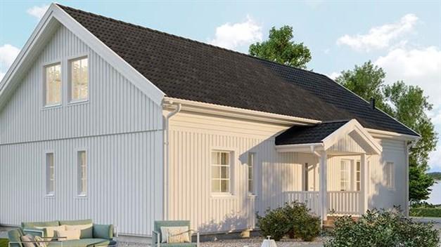 Bild på hus med förhöjd väggliv.Med reservation för avvikelser. Bilden är från Älvsbyhus hemsida.