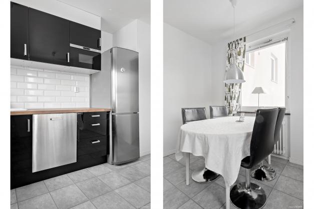 Kök rymmer plats för matbord.