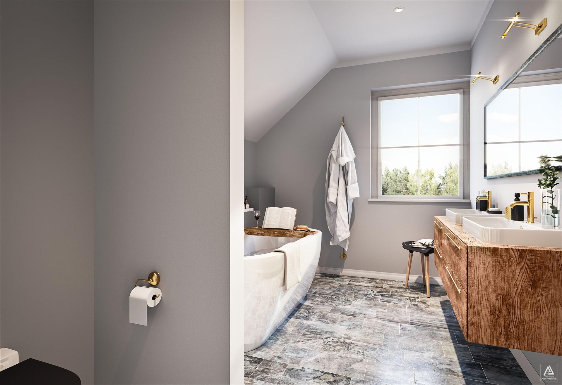 Badrum, övervåning (Observera att bilden är en förillustration och avvikelser förekommer)