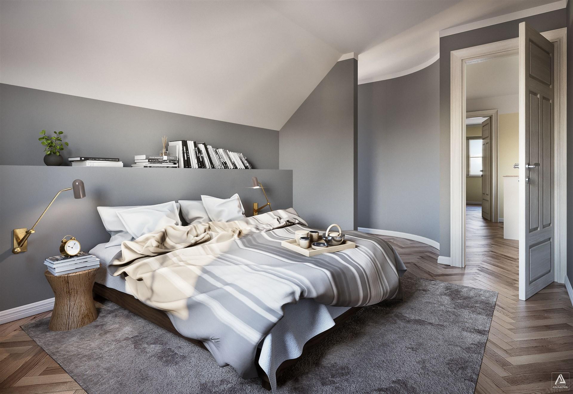 Master bedroom med walk-in closet, övervåning (Observera att bilden är en förillustration och avvikelser förekommer)