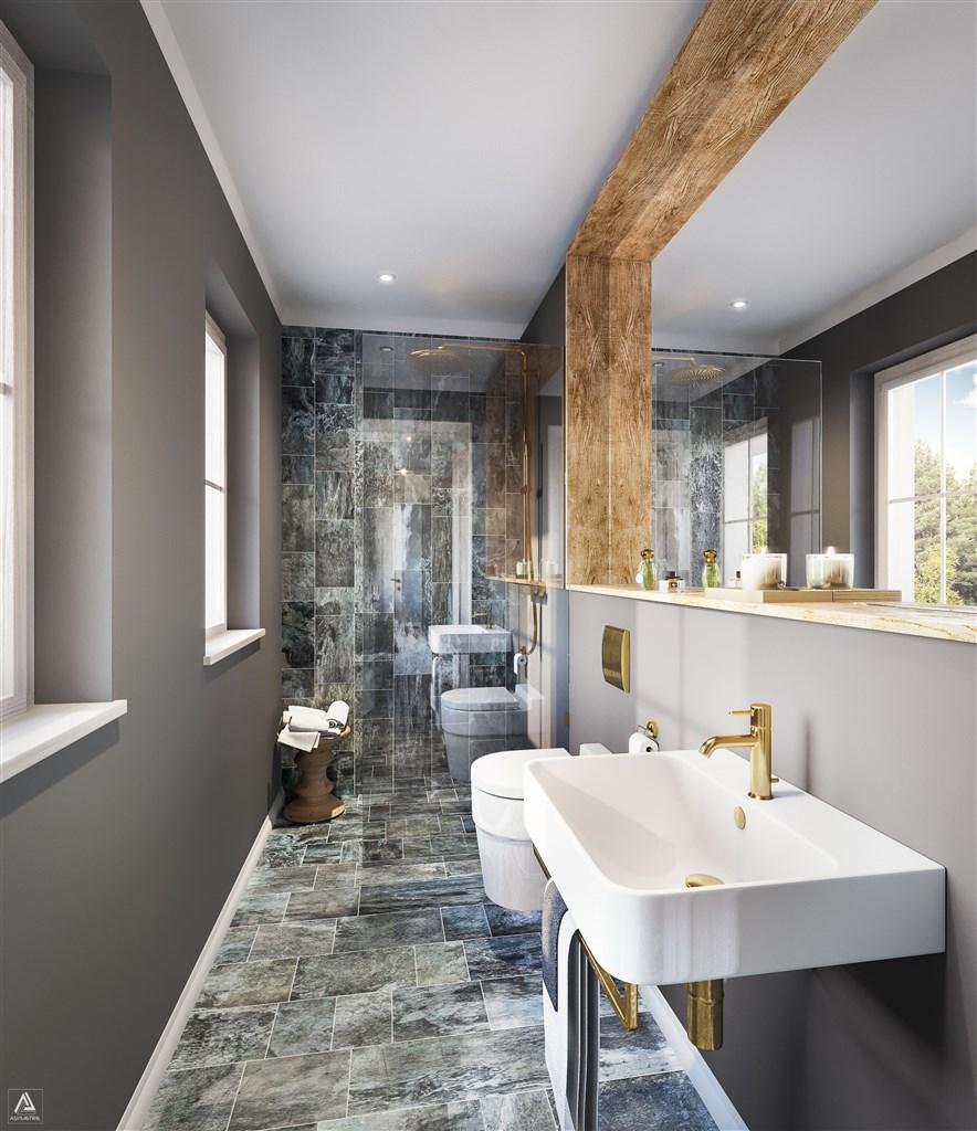 Duschrum med WC, entréplan (Observera att bilden är en förillustration och avvikelser förekommer)
