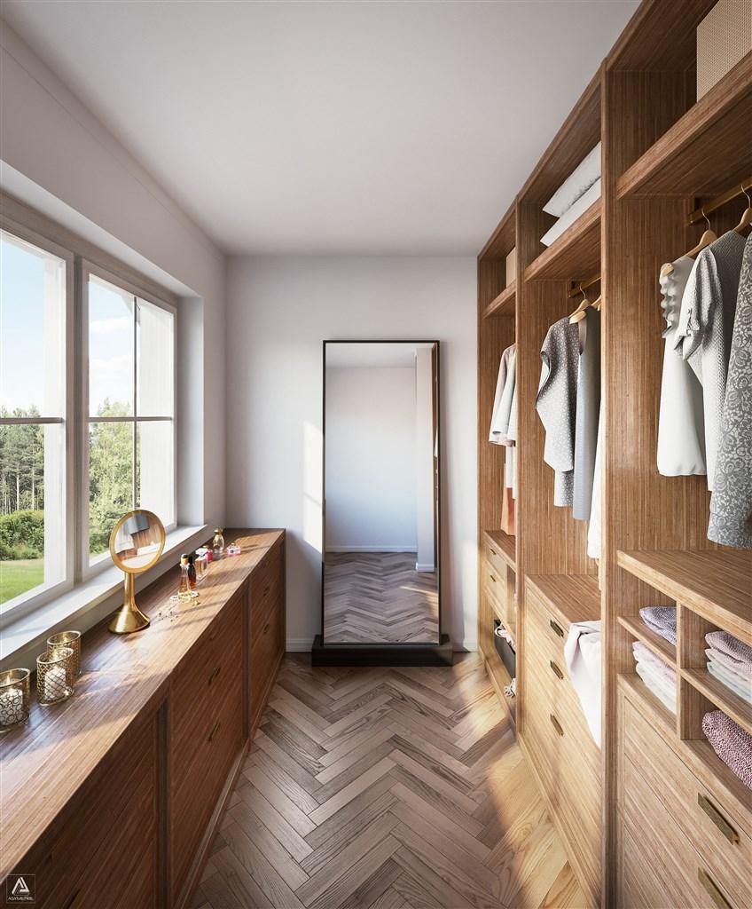 Walk-in closet, övervåning (Observera att bilden är en förillustration och avvikelser förekommer)