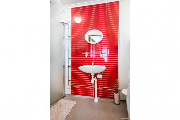 Duschrum med wc-stol och tvättmaskin.