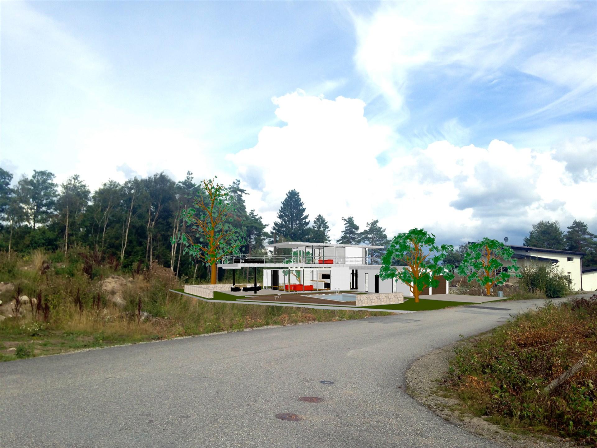 Fotomontage av villa på tomt.