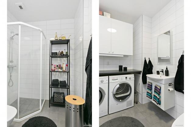 Helkaklat badrum med egen tvättmaskin och torktumlare