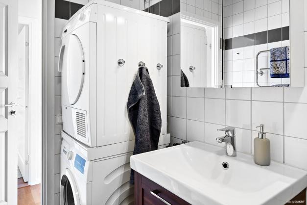 Badrum med tvättpelare.