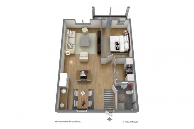 Planlösning i 3D, möblerad