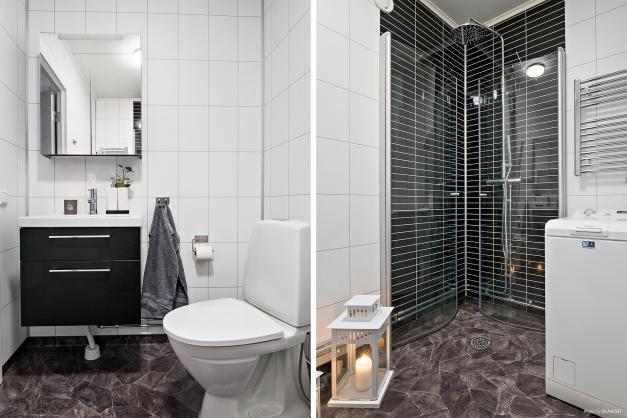 Fräscht renoverat badrum med toppmatad tvättmaskin och handdukstork.