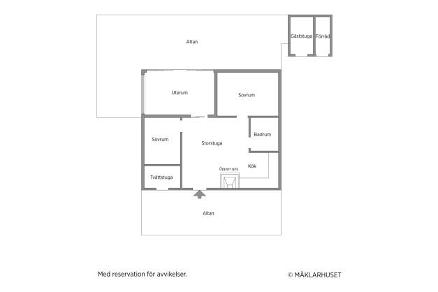 OBS: Planritningen är inte skalenlig utan är enbart tänkt att visa rummens placering i förhållande till varandra.