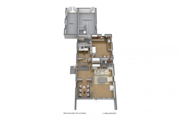 Planritning bottenvåning, 3D
