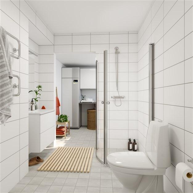 Vinkeln - Helkaklat bad- och tvättrum