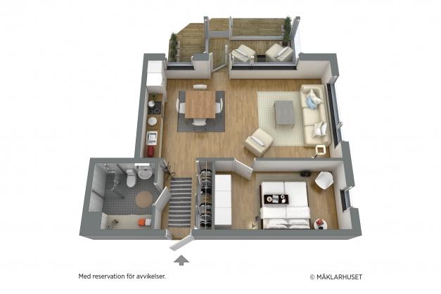 Planskiss 3D - möblerad