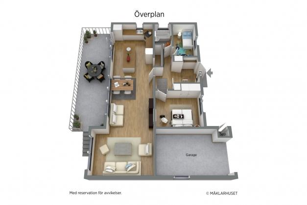 :ntréplan i 3 D möblerad