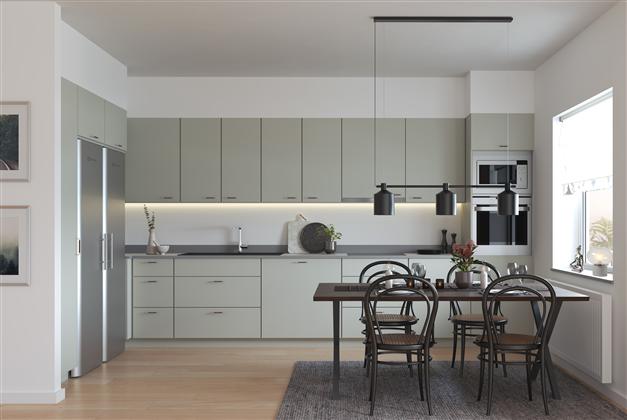 Vilken färg på luckorna vill du ha i köket, gröna luckor? Exempelbild
