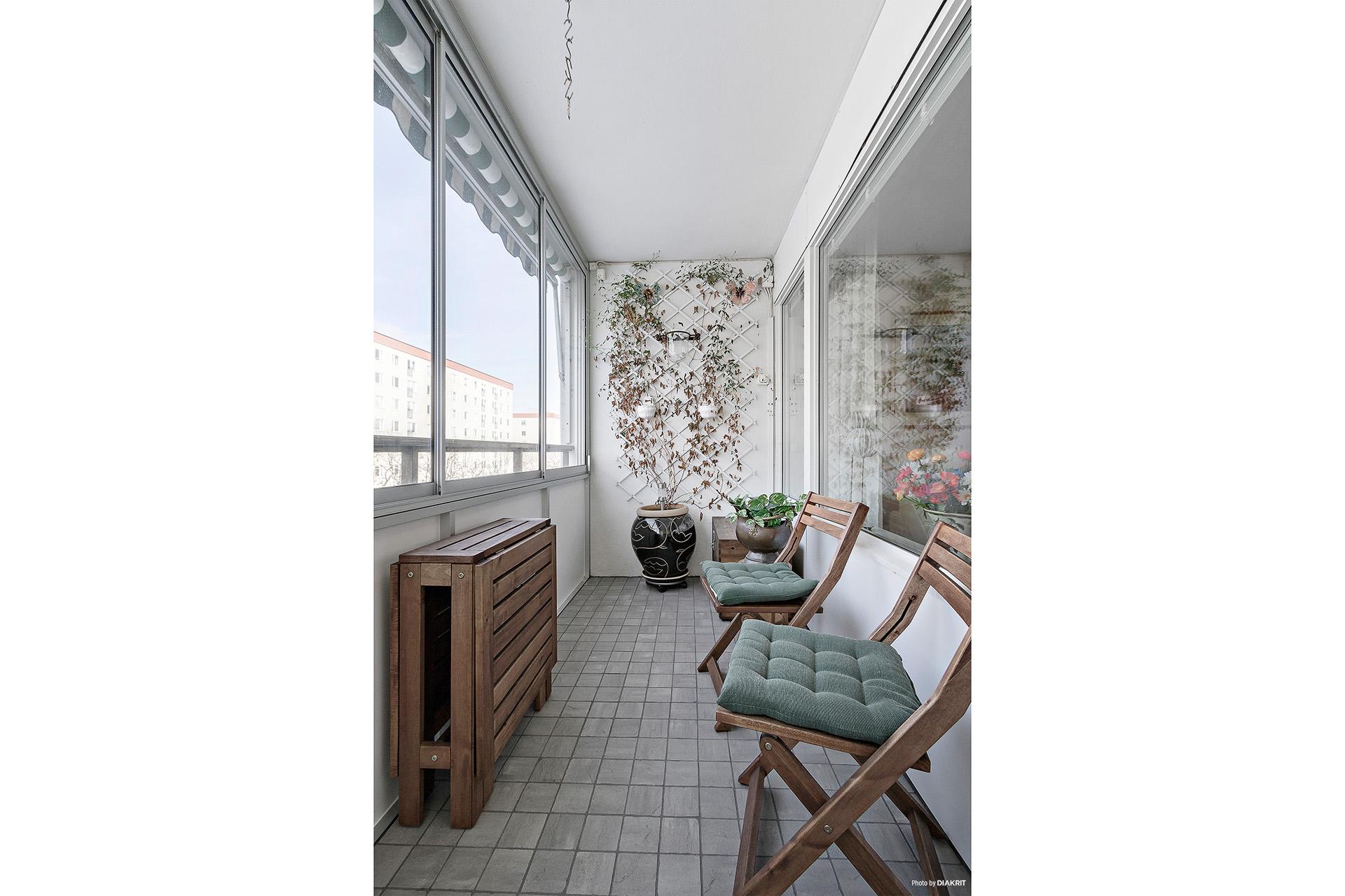 Inglasad balkong (med golvvärme)