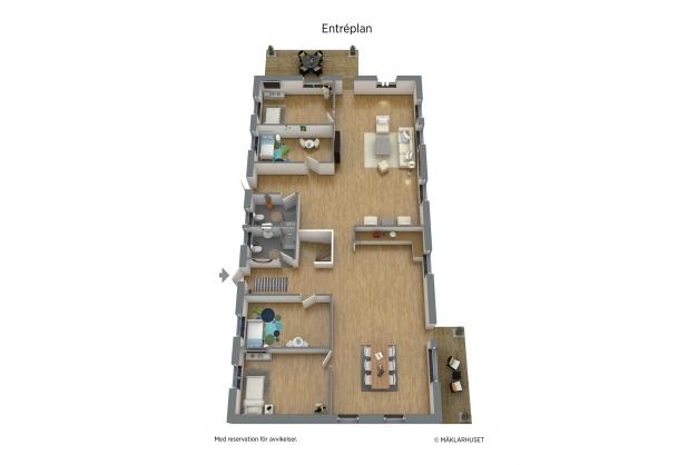 Möblerad planritning Entréplan