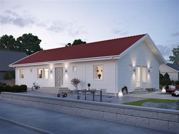 """För priset 3 786 400 kr erbjuder Smålandsvillan följande hus med totalentrepenad inklusive kostnad för tomten (875000 kr) Se offert och ritning i under dokument och filer. Villa """"Fredriksdal"""""""