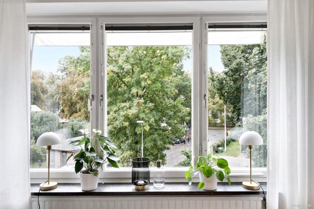 Stora fönsterpartier med vacker vy