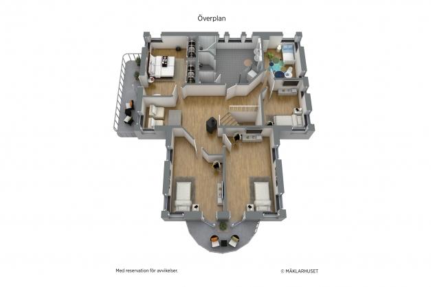 Fem sovrum, om man vill så gör man ett rum av de två mot den runda balkongen, skapar sig ett gigantiskt Master bedroom.