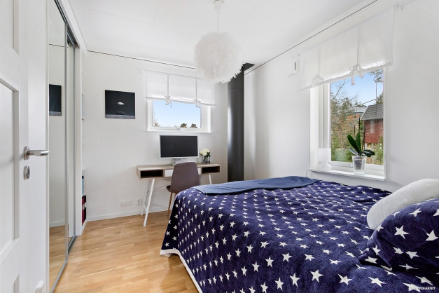 Sovrum tre med platsbyggda garderober