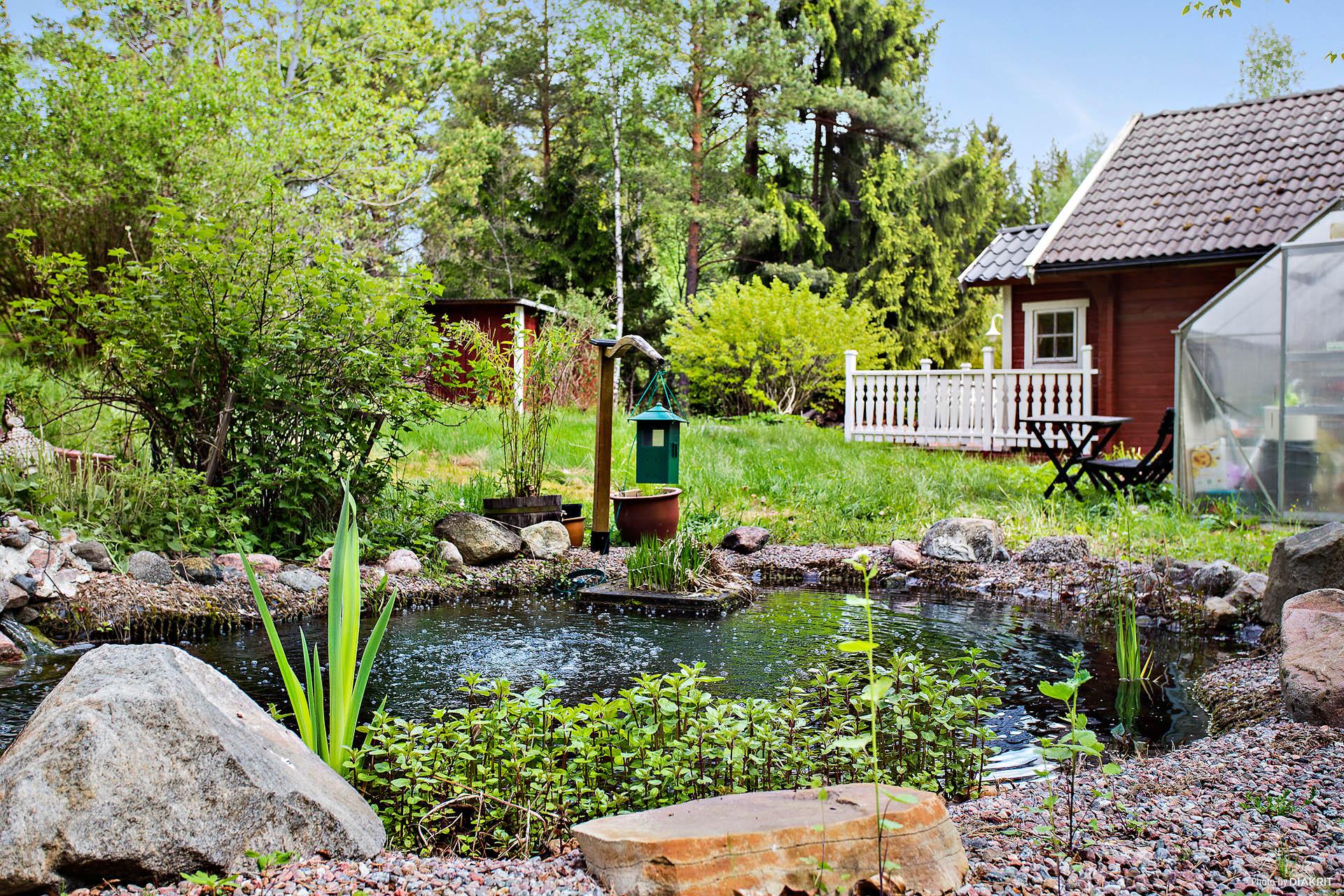 Vacker trädgård med fiskedamm och växthus