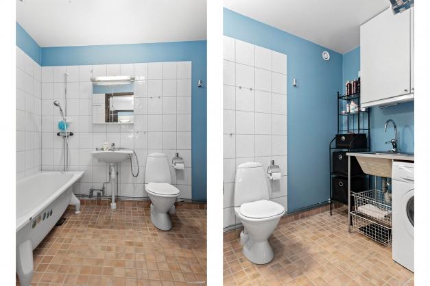 Badrum med badkar och tvättmöjligheter
