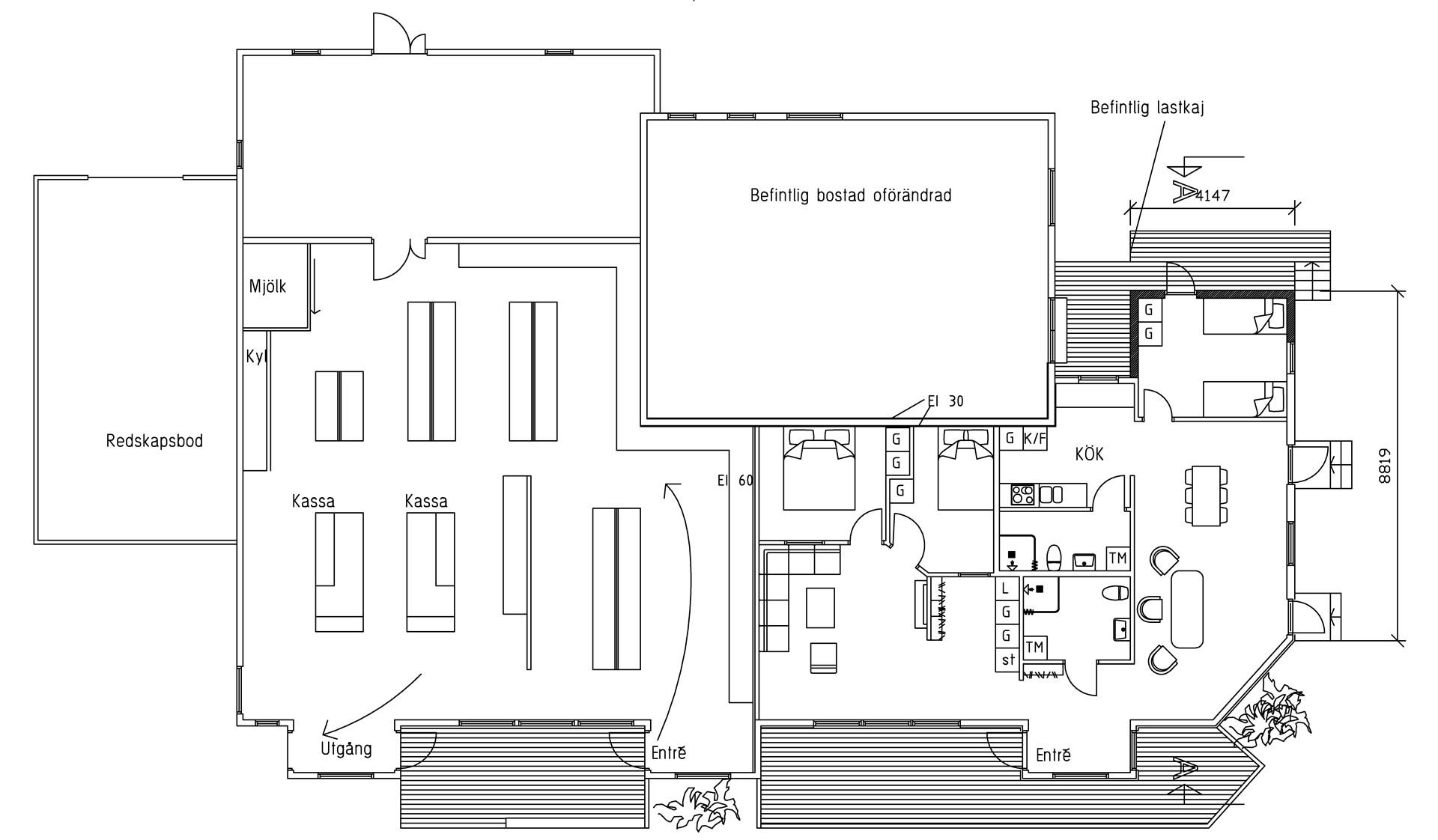 Ritning för ombyggnad av delar av butiken till lägenhet, bygglov finns som vunnit laga kraft.