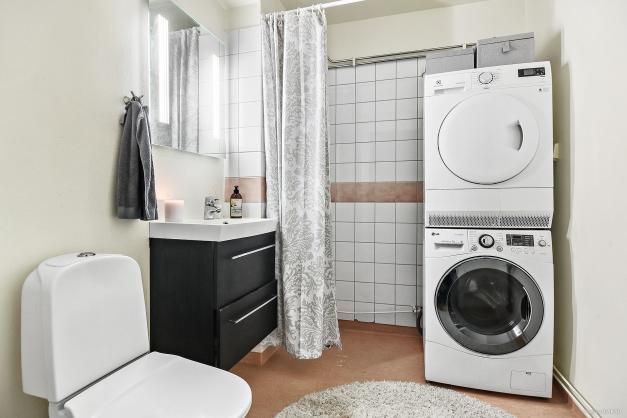 Badrum med dusch och tvättutrustning på entréplan