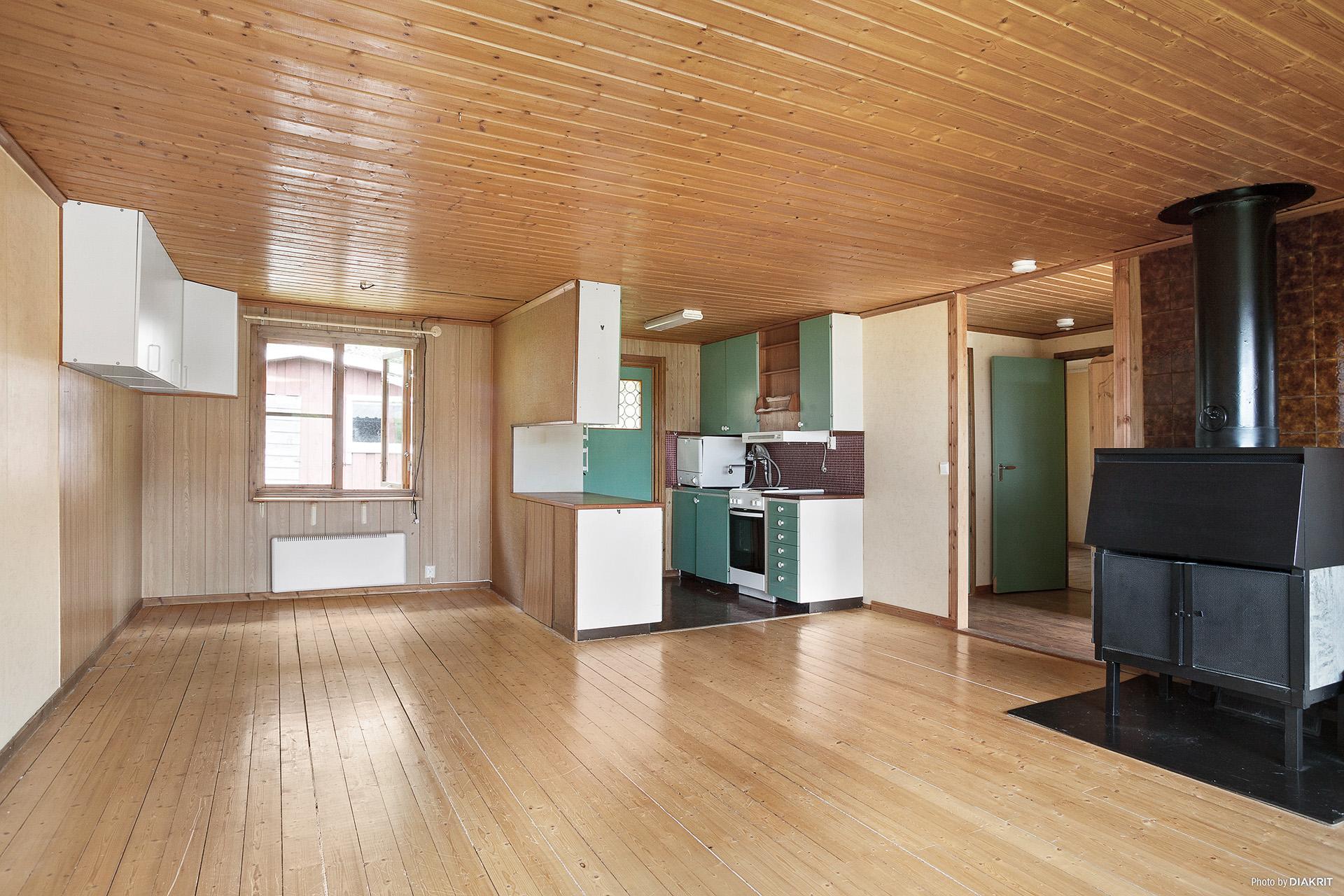 Vardagsrum med köksdel