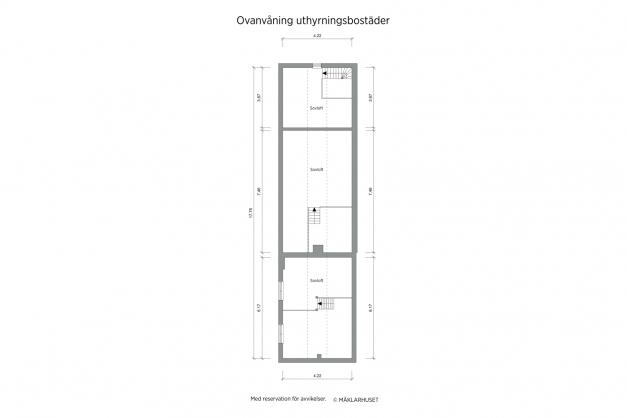 Planritning 2-d övre plan/loft gårdshus