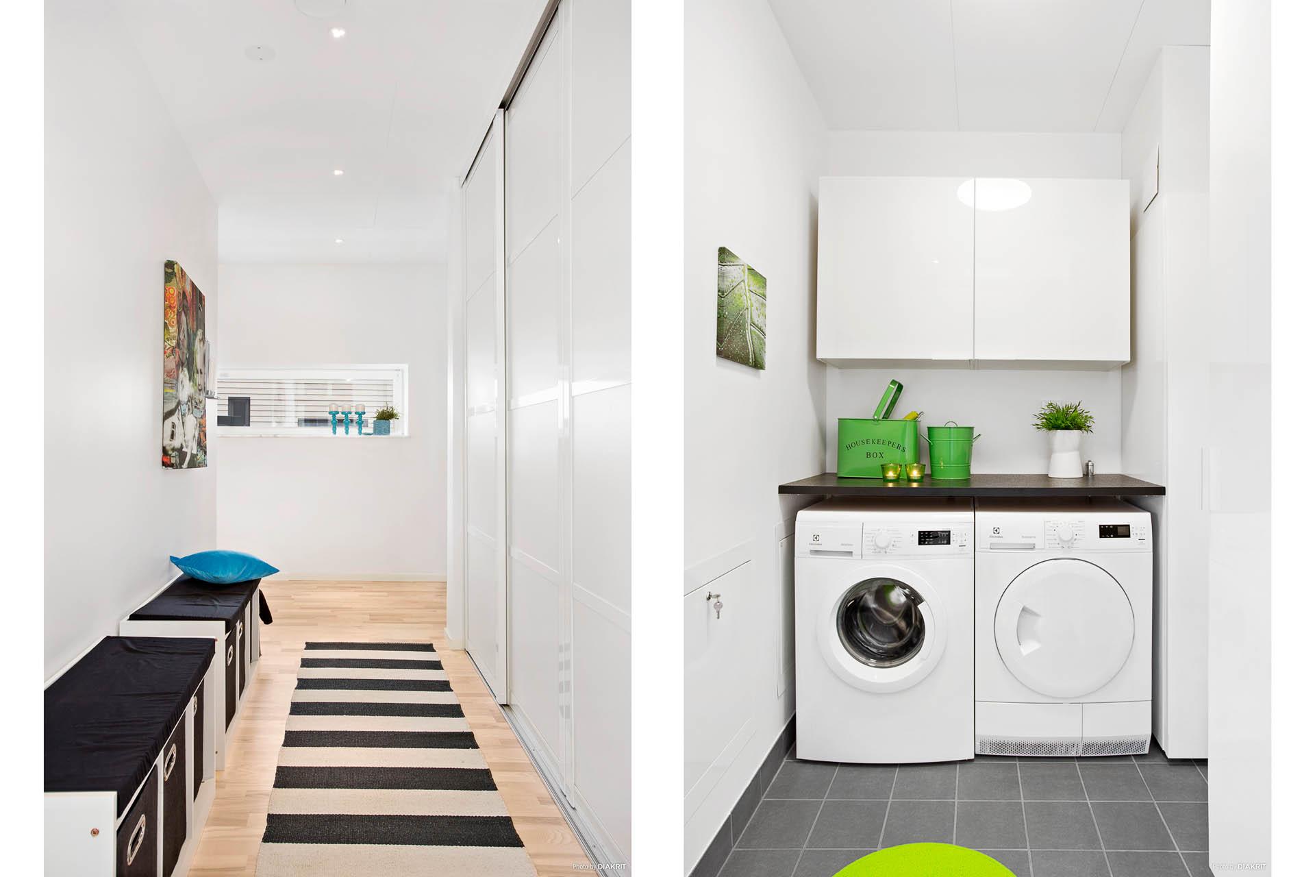 Hall med gott om förvaring och tvättstuga