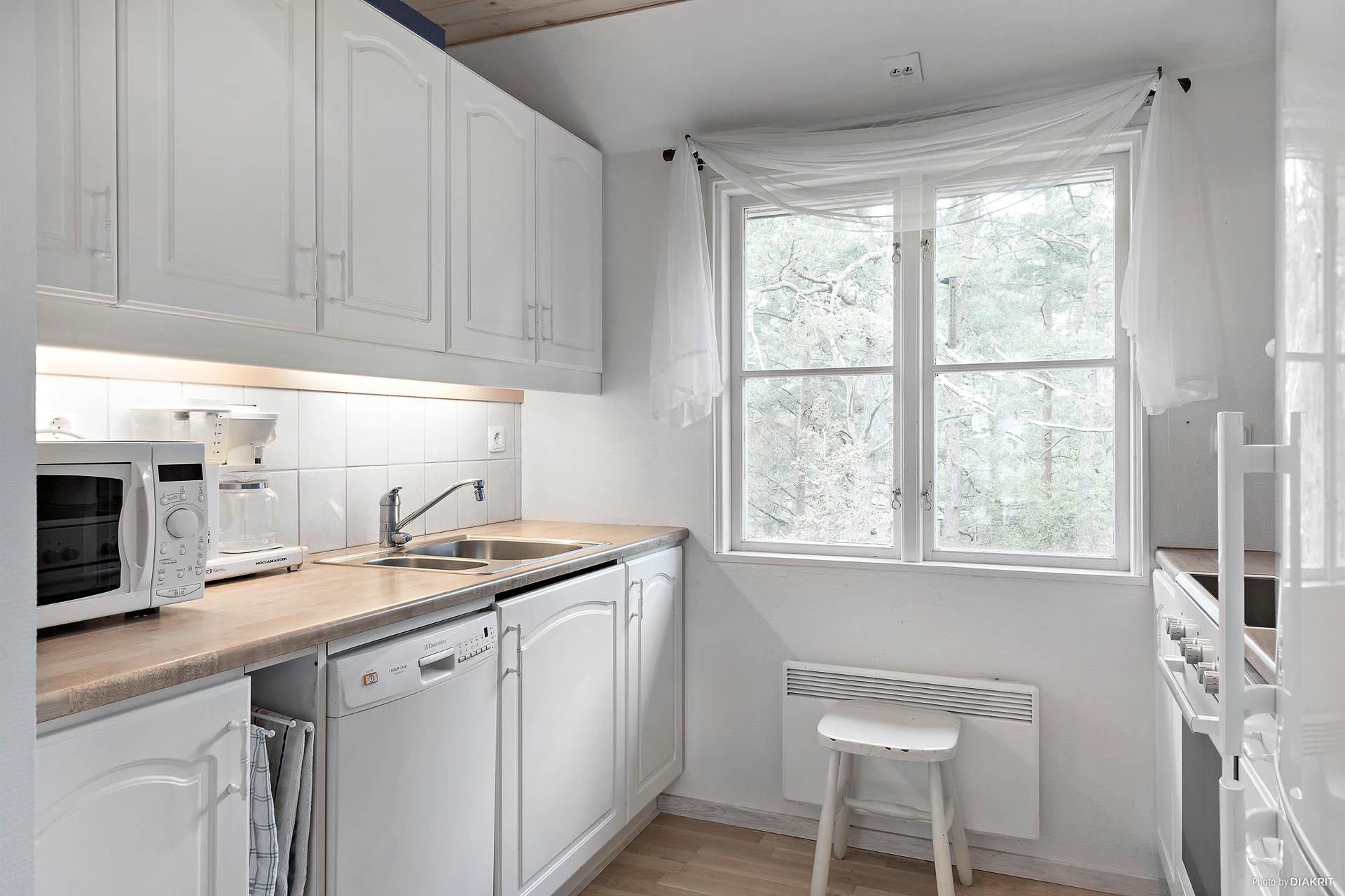 Stilrent arbetskök med vita köksluckor