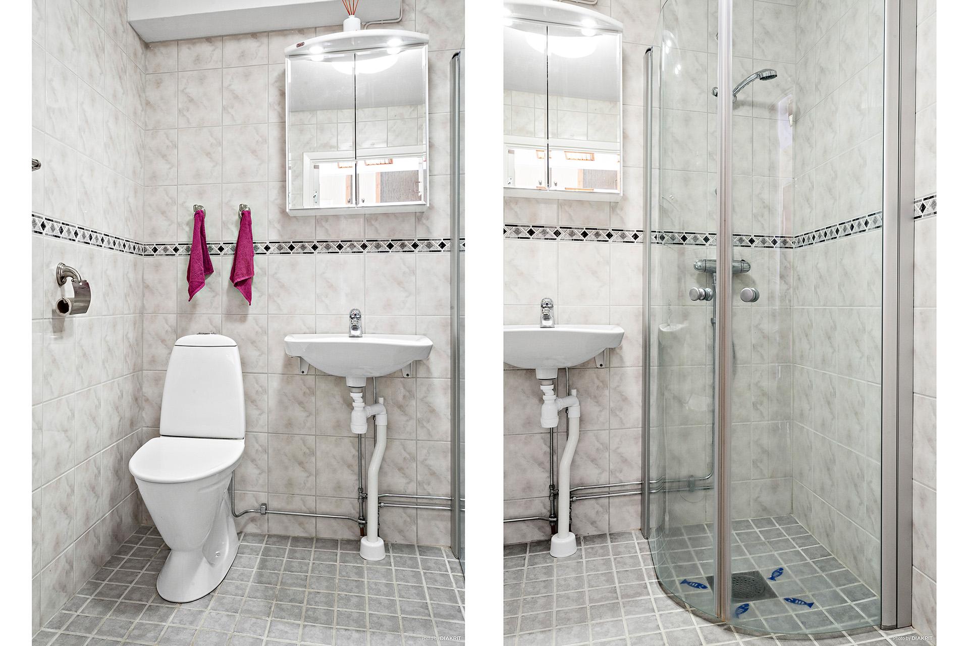 Fräscht och renoverad dusch med golvvärme.