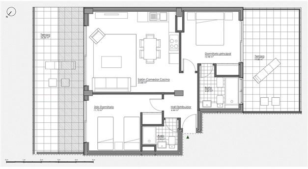 Planritning - Takvåning med 2 sovrum