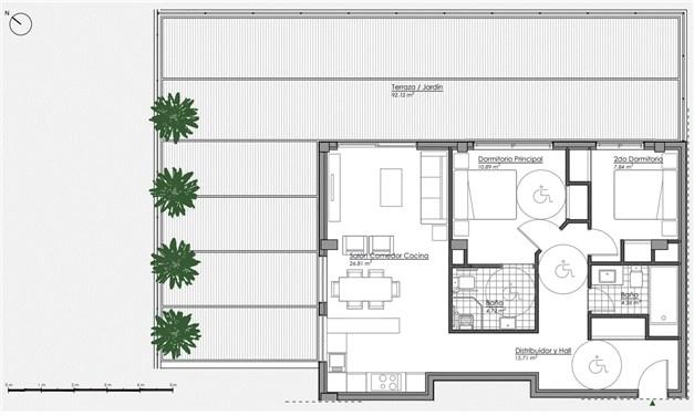 Planritning - 2 sovrum i markplan