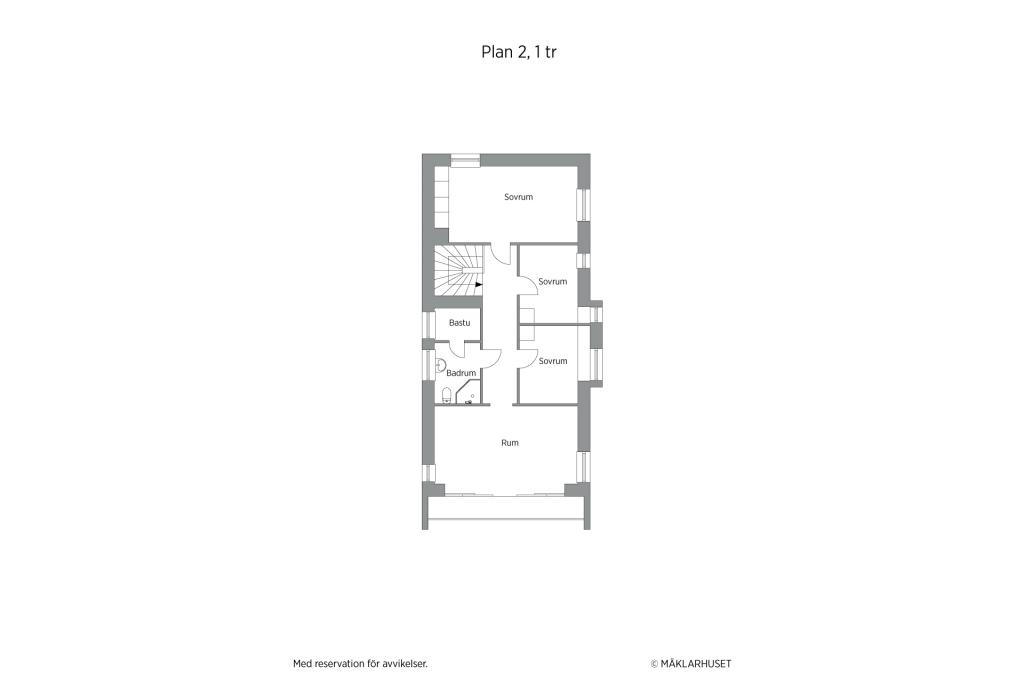Planritning 2D 2 planshus övreplan