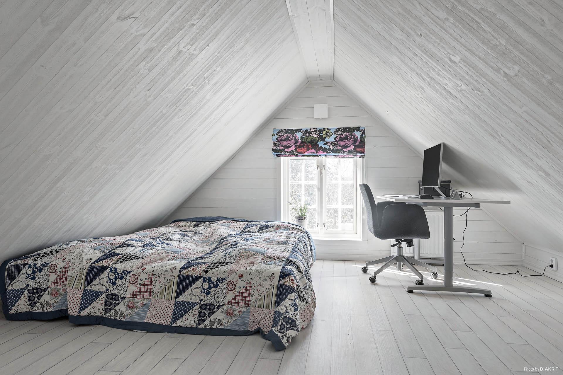 Här finns plats för säng och skrivbord.