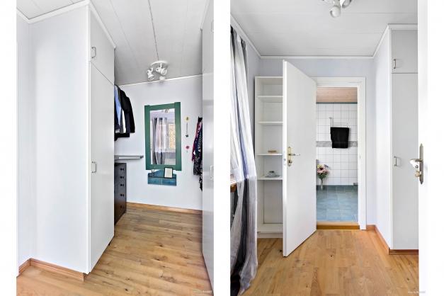 Från master bedroom nås klädkammare och en suite badrum