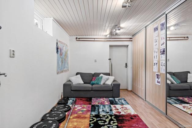 Detta rum används som gym och förråd