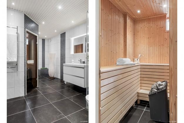 Lyxigt helkaklat badrum med bastu på suterrängplan, renoverat 2016 av fackman.